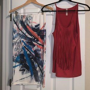Dresses & Skirts - Skirt and fringe top set